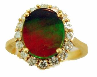 Ammolite and Diamond 14k yellow gold ring.