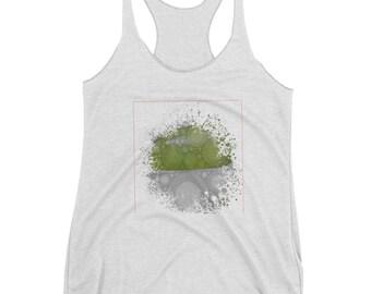 Splash Design/Women's Shirt/Design Shirt/Women's Racerback Tank/White and Green Design/ kaleidoscope/ Mandala Design/Half Square design