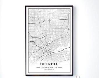 Detroit Art, Detroit City Map, Detroit Print, Detroit Poster, Detroit Wall Art, Detroit Mi Map, Detroit Michigan Art, Map Of Detroit, Pdf