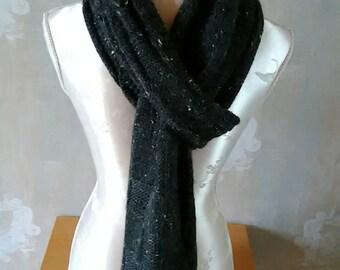 Mens Scarf in black tweed