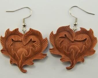 Leafy Heart Earrings Hooks, Dangling
