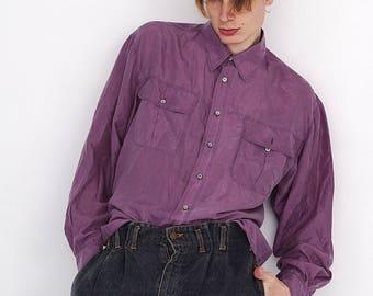 VINTAGE Purple Long Sleeve Button Downs Retro Shirt