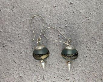 Fine Silver and Lampwork Bead Earrings