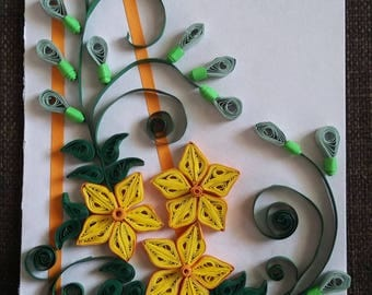 Handmade Quilling card-Easter Card-Easter gift-Paper card-Flowers