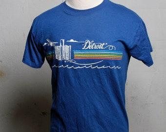 Vintage 80's Detroit Tourist T Shirt Mega Soft Blue L