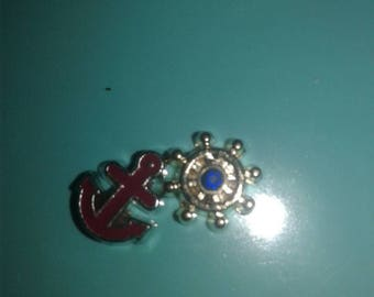 Anchor and Ships wheel floating charms