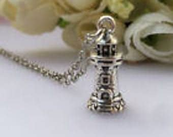 Tibetan Silver Lighthouse Charm Necklace
