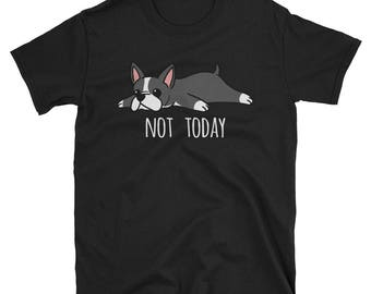 Funny Not Today Boston Terrier T-Shirt, Cute Boston Terrier Dog Gift Shirt