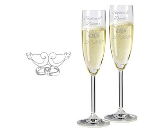 "2 Leonardo champagne glasses with personalized engraving ""pigeons and Rings"" bride/Groom with name and date engraved wedding gift"