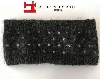 Handmade Knit Headband Grey Hearts 100% pure Icelandic wool Earwarmer Winter
