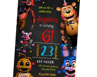INSTANT DOWNLOAD - Five Nights at Freddys Invitation - Five Nights at Freddys Birthday Invitation - Five Nights at Freddys - Invitation