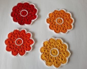 Premium cotton crochet coasters / flowers, cotton doilies