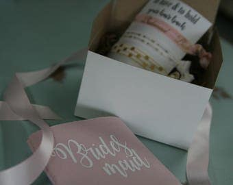 bridesmaid proposal, bridesmaid gift, proposal box, will you be my, bridesmaid maid of honor, hair tie,