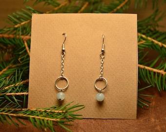 Amazonite earrings, minimal earrings, boho gemstone earrings, boho dangle earrings, spiritual earrings, crystal earrings, elegant earrings