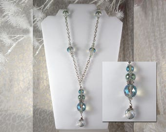 """Stunning. Super Bling! Multi-faceted Crystal-like Aqua Roundels Crowned with Rhinestone Accents. 38"""" Long! Lobster Claw Clasps."""