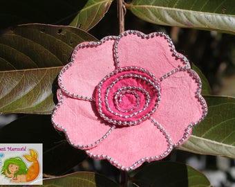 Beaded Pink Flower Hair Clip // Hair Accessory // Hair Bow // Flower Bow // Flower Barrette // Fancy Bow