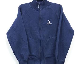 Vintage Playboy Sweater Zip-up Pullover Jacket Blue Black Colour Size M