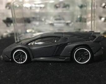 Custom Satin Hot Wheels Lamborghini Veneno Flat Black
