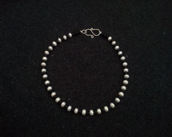 White Pearl and Black Glass Choker Necklace.