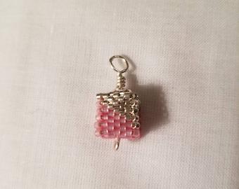 Beaded cube pendant