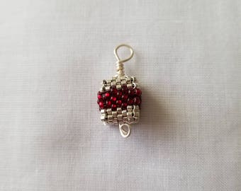 Beaded cube Christmas pendant