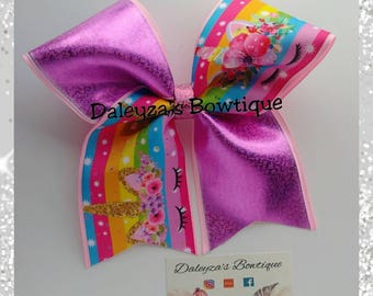 Unicorn cheer bow, unicorn bow, Pink unicorn cheer bow, pink
