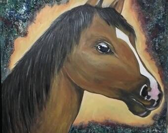 Stallion /horse/ /brown/ dark/ hair/ oil/ acrylic/ wildlife/nature/ yellow wall art
