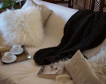 100% Pure New Wool Hand Knit Throw/Wrap