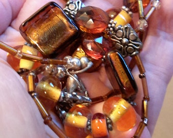 Vintage Amber Glass and Plastic Bead Necklace