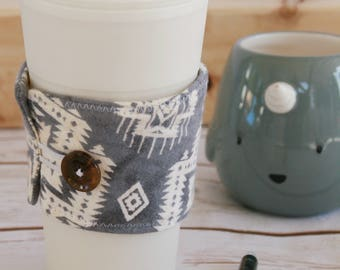 Coffee Cozy Sleeve - Gray and white Aztec flannel / reusable coffee sleeve