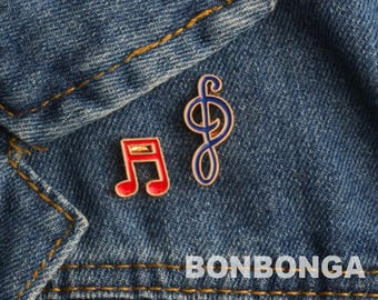 Music enamel pin / DJ brooch / Music note treble clef