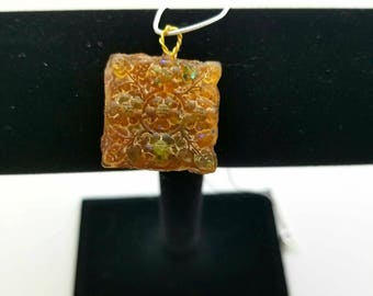 Genuine Peridot, Citrine, and Crushed Malachite Floral Square-shaped pendant Necklace