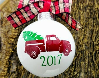 Vintage Truck Christmas Ornament Personalized