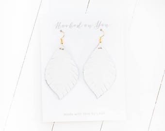 White {SNOW WHITE COLLECTION} - Feather Leather Statement Earrings