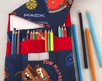 Art Folio, pencil case, children's are folder, colouring caddy, activity folder, art tote, cars