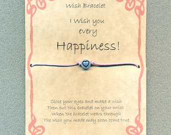 Handmade Gift Card, Wish Bracelet for Happiness. Heart charm, cotton waxed cord.