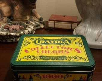 Vintage Crayola Collectors Colors Limited Edition Tin, 1991.