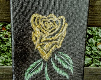 Yellow rose flower 5×7 canvas acrylic painting Home decor sign