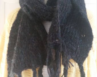 Thick hand knitted British scarf. Soft,black with magical sparkling threads