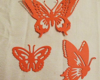 """Butterfly Die Cuts, Set of three Orange Butterflies, Sizes 4""""x3"""", 3"""" x 2"""" and 1.75""""x2 and 1/8"""", Made in the USA, #4"""