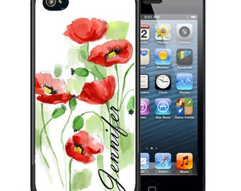 Personalized Rubber Case For iPhone X, 8, 8 plus, 7, 7 plus, 6s, 6s plus, 5, 5s, 5c, SE - Water Colors Poppies