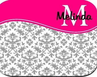 Personalized Mouse Pad - Gray Damask With Hot Pink