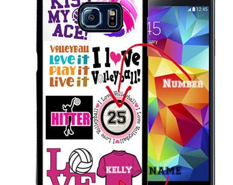 Personalized Rubber Case For Samsung S5, S6, S6 edge, S6 Edge Plus, S7, S7 Edge,  8, 8 plus -  Volleyball Collage