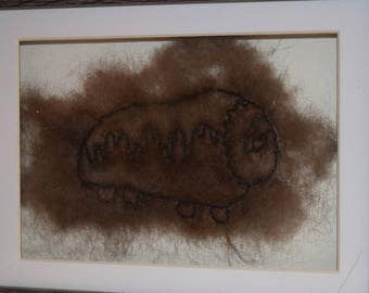 Framed embroidered qiviut musk ox wool 100% natural from Greenland