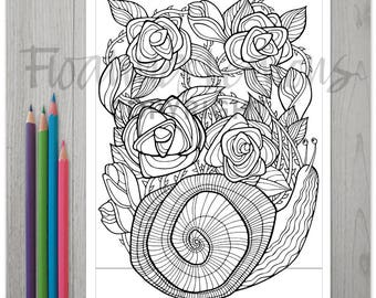 Printable Roses and Snail Colouring Page