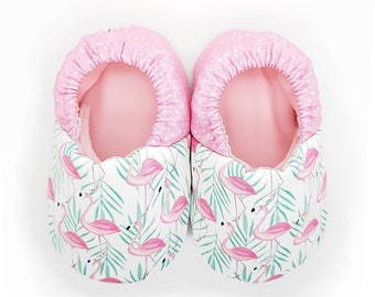 Flamingo soft soled baby shoes, Baby crib shoes, Pink baby shoes