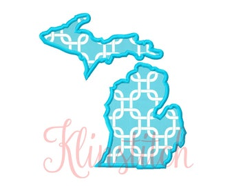 50% Sale!! Michigan State Applique Designs 9 Sizes Embroidery Designs USA State Outline Embroidery PES Embroidery Designs