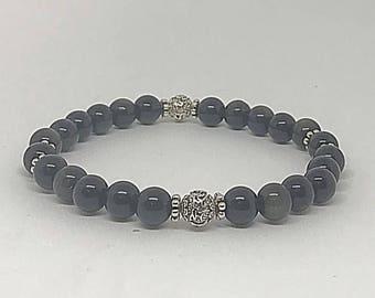Mantra Obsidian Affirmation Bracelet