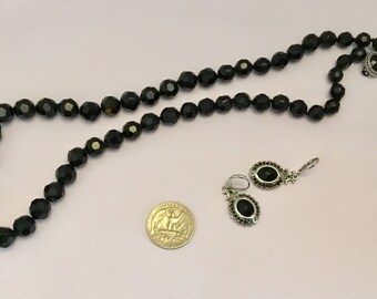 Black bead necklace and earrings