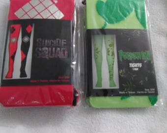 Harley Quinn And Poison Ivy tights NEW SIZE S/M